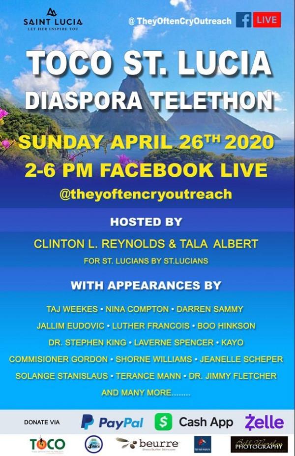 Flyer Diaspora Telethon - Taj Weekes - Le 26 avril
