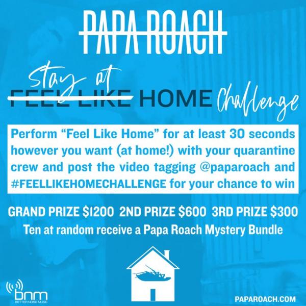 Papa Roach, nouveau clip, Feel Like Home, 2020, concours, Feel Like Home Challenge