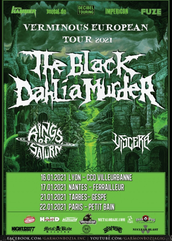 The Black Dahlia Murder, Rings Of Saturn, Viscera, concerts, dates françaises, 2021, Garmonbozia Inc.