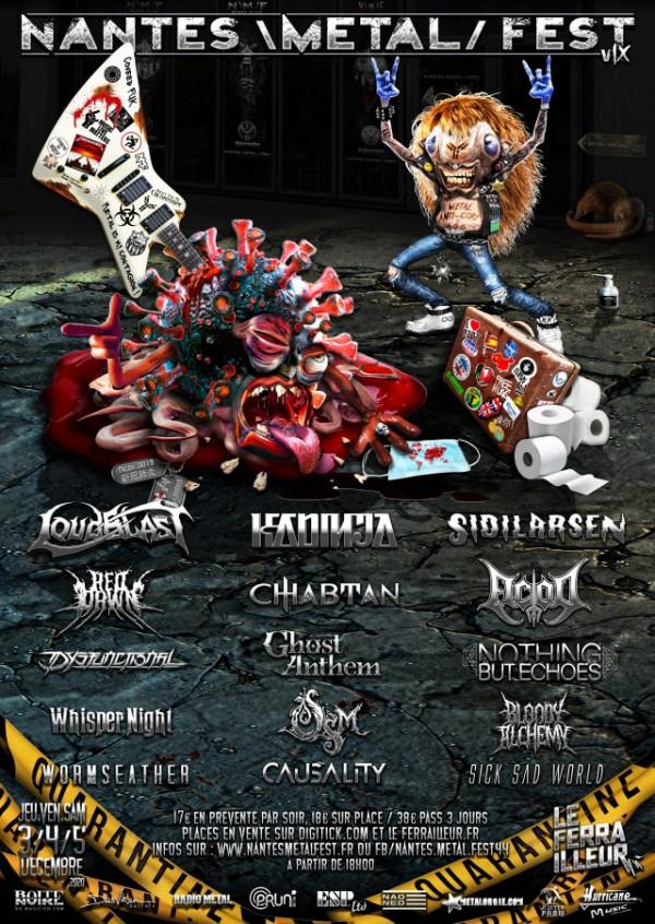 2020, festival, affiche, nantes metal fest, Loudblast, Kadinja, Sidilarsen