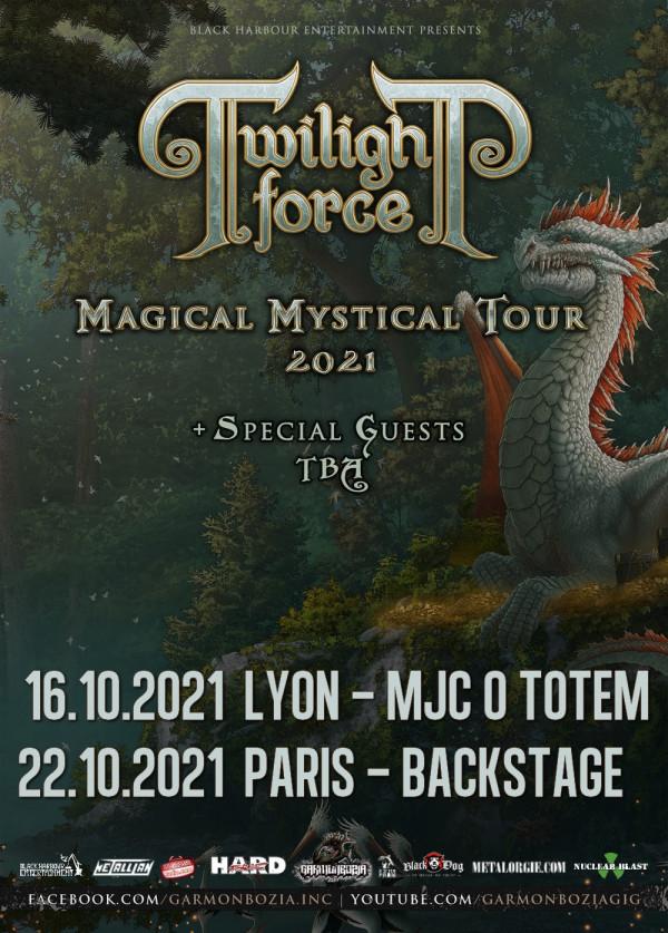 Report 2021, Twilight Force, Dragony, Silver Bullet, Magical Mystical Tour, concert, Garmonbozia Inc., Paris, Access Live, Lyon,Backstage By The Mill