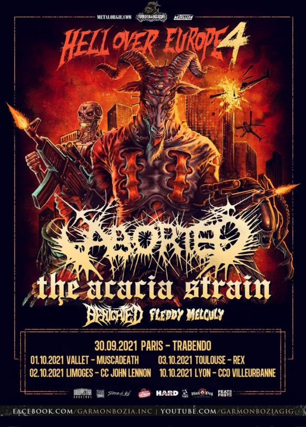 Aborted, The Acacia Strain, Benighted, Fleddy Melculy, Garmonbozia Inc., concerts, 2021,