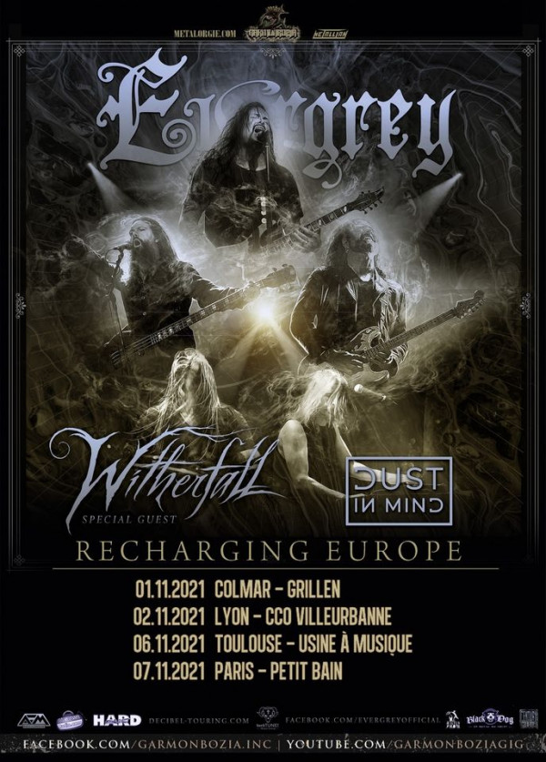 Evergrey, nouvel album, Escape Of The Phoenix, Witherfall, Dust In Mind, concerts, 2021, Garmonbozia Inc.
