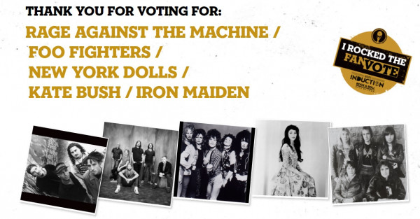 Rock & Roll Hall Of Fame, Foo Fighters, Rage Against the Machine, Iron Maiden, New York Dolls, Kate Bush