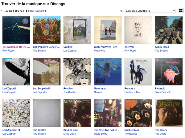 Disques les plus voulus sur Discogs