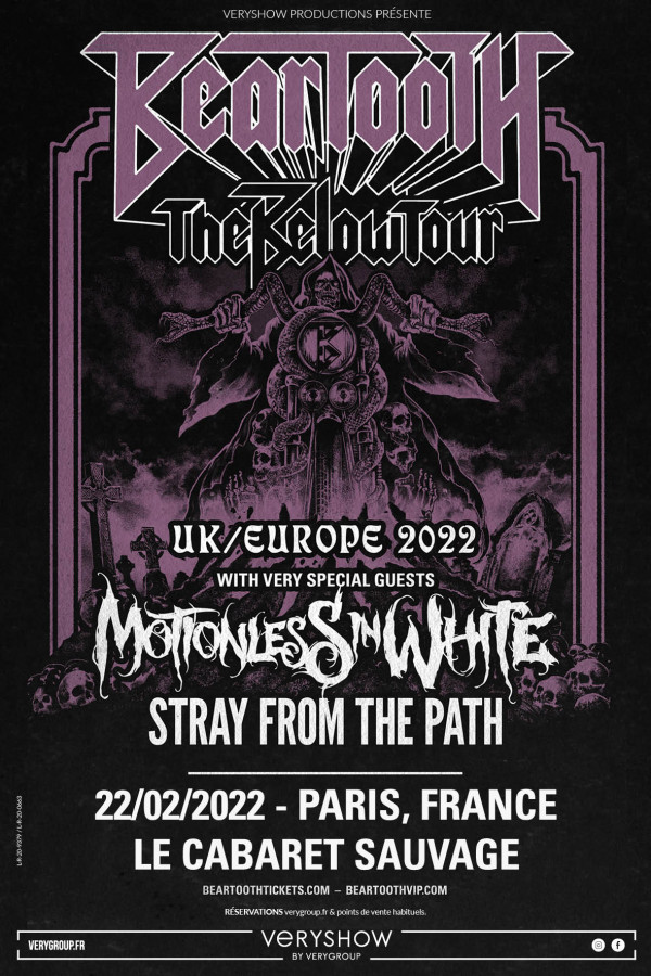 beartooth, motionless in white, stray from the path, below, veryshow, cabaret sauvage, paris