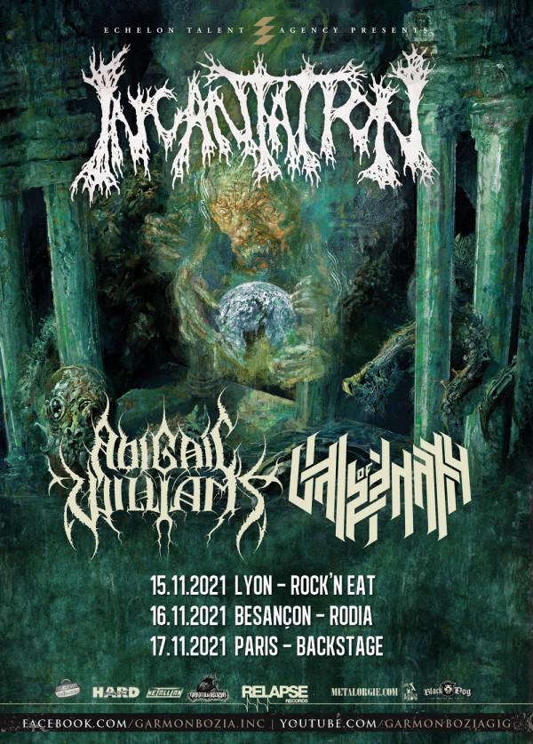 Incantation, concerts,  Abigail Williams, Vale Of Pnath, tournée française, Garmonbozia, 2021