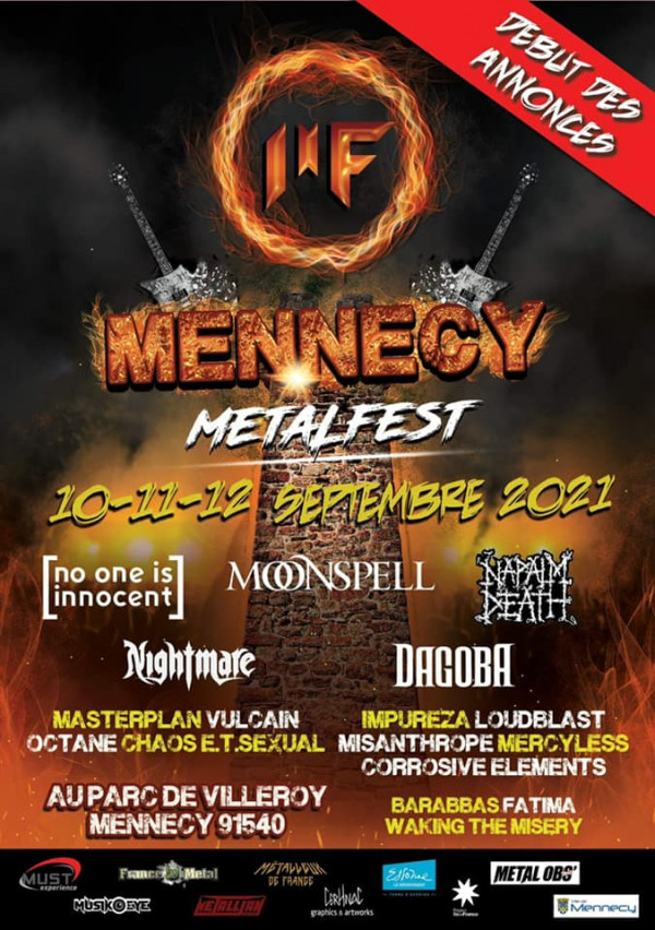 Mennecy Metal Fest, 2021, Napalm death, Moonspell, No One is Innocent, Nightmare, Dagoba